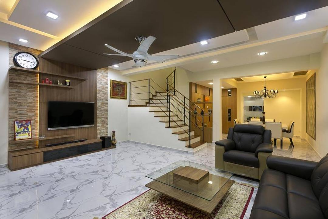 Jalan Terang Bulan, Fineline Design, Traditional, Living Room, Landed, White Ceiling Fan, Marble Floor, Wood Eature Wall, Wood Tv Console, Cove Lights, Down Lights, Black Sofa, Coffee Table, Rug, Carpet, Couch, Furniture, Electronics, Entertainment Center, Lighting, Indoors, Room