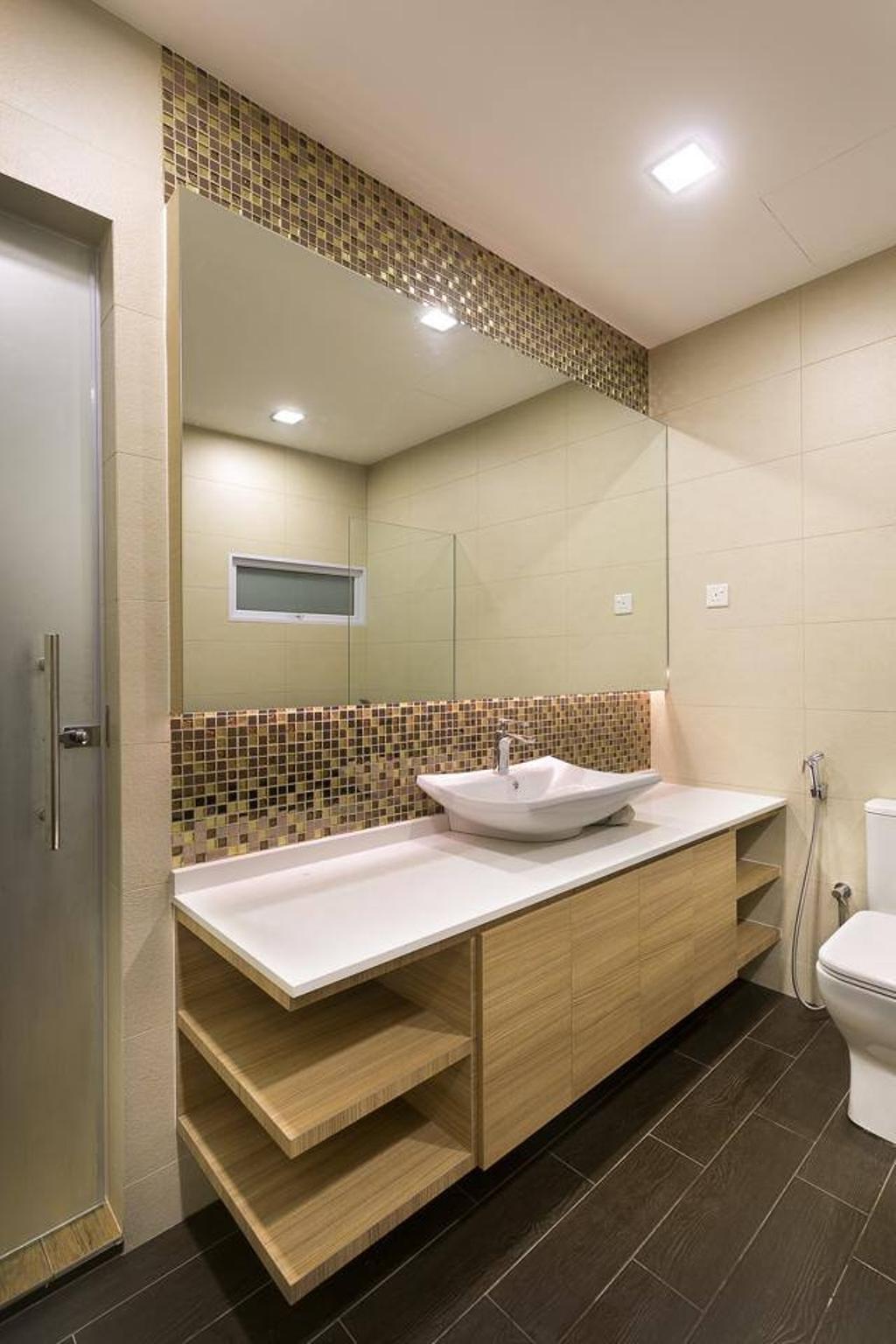 Traditional, Landed, Bathroom, Jalan Terang Bulan, Interior Designer, Fineline Design, Down Lights, Wood Cabinets, Floor Tiles, Indoors, Interior Design, Room, Sink, Bathtub, Tub
