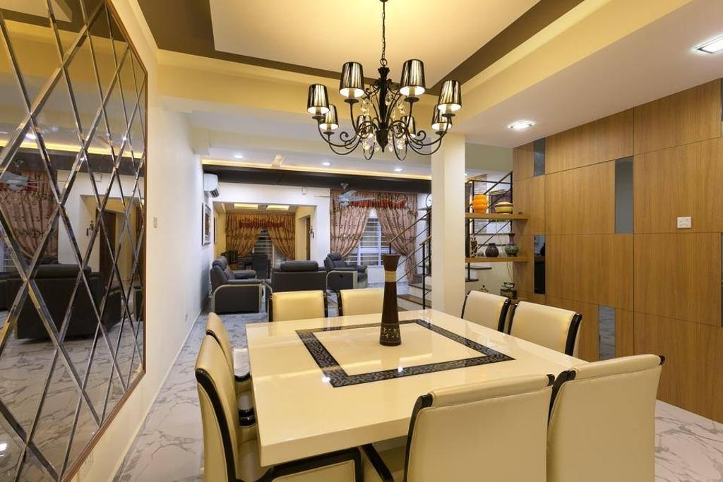 Traditional, Landed, Dining Room, Jalan Terang Bulan, Interior Designer, Fineline Design, Chandelier, White Dining Table, White Dining Chairs, Marble Floor Tiles, Down Lights, Light Fixture, Exercise, Fitness, Gym, Sport, Sports, Working Out, Lamp, Indoors, Room