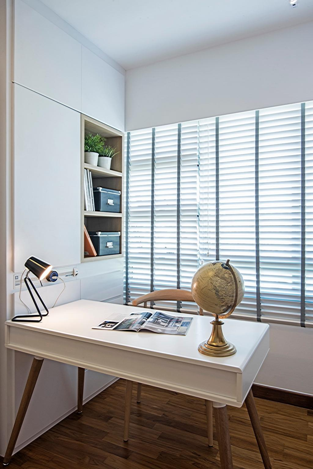 Contemporary, HDB, Study, Punggol Drive (Block 679C), Interior Designer, Fineline Design, White Blind, White Cabinets, White Shelving, White Desk, Wood Floor, Flora, Jar, Plant, Potted Plant, Pottery, Vase, Astronomy, Globe, Outer Space, Planet, Space, Sphere, Universe, Planter, Curtain, Home Decor, Window, Window Shade
