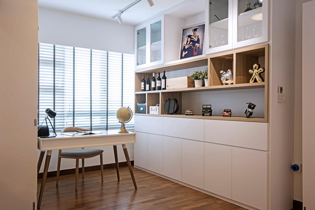 Punggol Drive (Block 679C), Fineline Design, Contemporary, Study, HDB, White Shelcing, Wood Floor, White Blinds, White Desk, Study Chair, Chair, Furniture, Dining Table, Table
