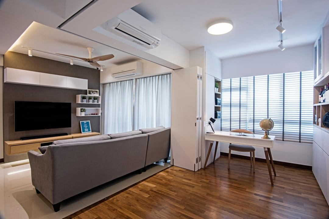 Punggol Drive (Block 679C), Fineline Design, Contemporary, Living Room, HDB, Wood Tv Console, White Track Lights, Black Feature Wall, White Shelving, White Study Desk, White Blinds, Indoors, Interior Design, Flooring, Hardwood, Wood
