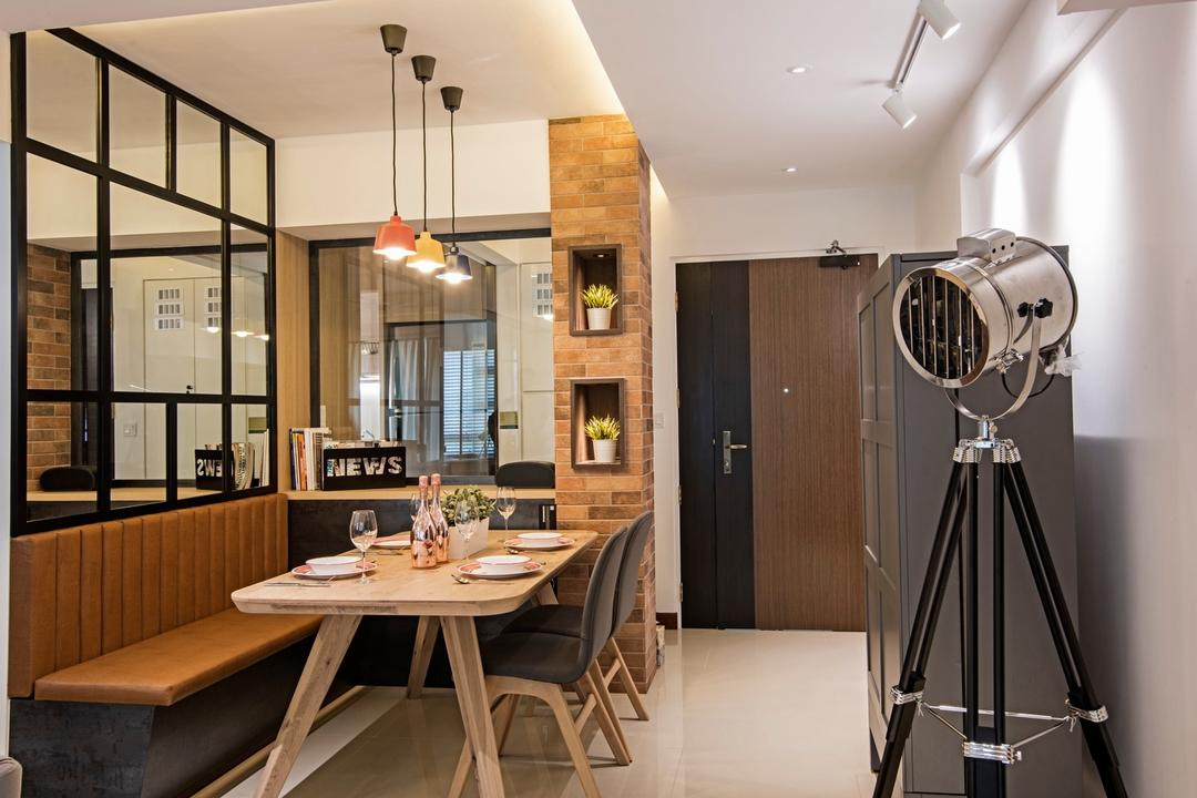 Punggol Drive (Block 679C), Fineline Design, Contemporary, Dining Room, HDB, Dining Lights, Hanging Lights, Wood Dining Table, Dining Chairs, Leather Sofa, Wall Mirror, White Track Lights, Tripod, Dining Table, Furniture, Table, Indoors, Interior Design, Room, Building, Housing, Loft