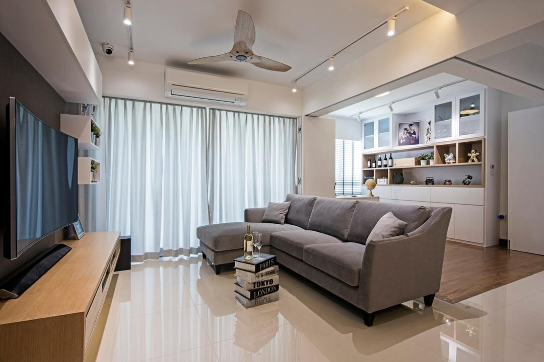 Punggol Drive (Block 679C), Fineline Design, Contemporary, Living Room, HDB, L Shaped Grey Sofa, Floor Tiles, Wood Tv Console, White Track Lights, White Ceiling Fan, Wood Platform, White Shelving, Couch, Furniture, Indoors, Interior Design