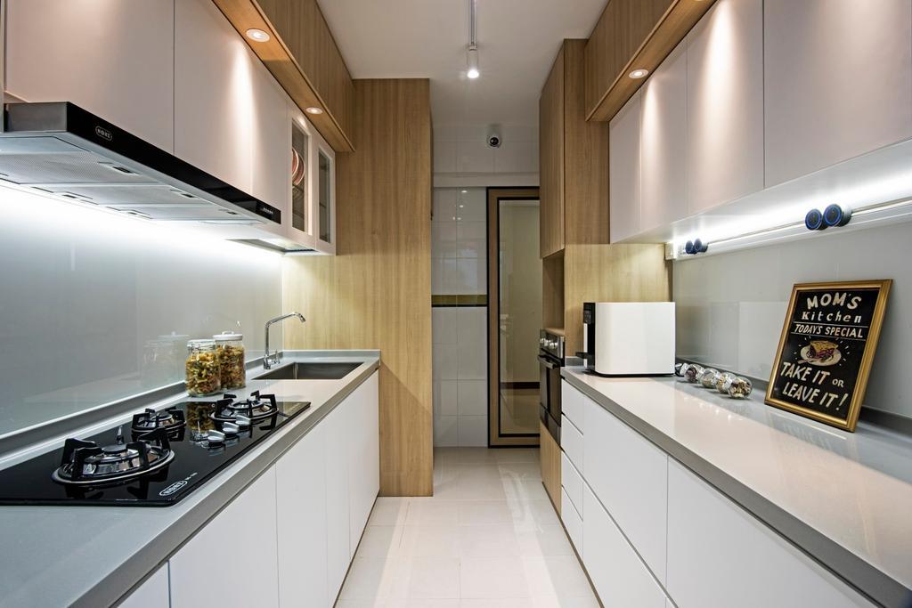 Contemporary, HDB, Kitchen, Punggol Drive (Block 679C), Interior Designer, Fineline Design, White Kitchen, Down Lights, White Track Lights, Floor Tiles