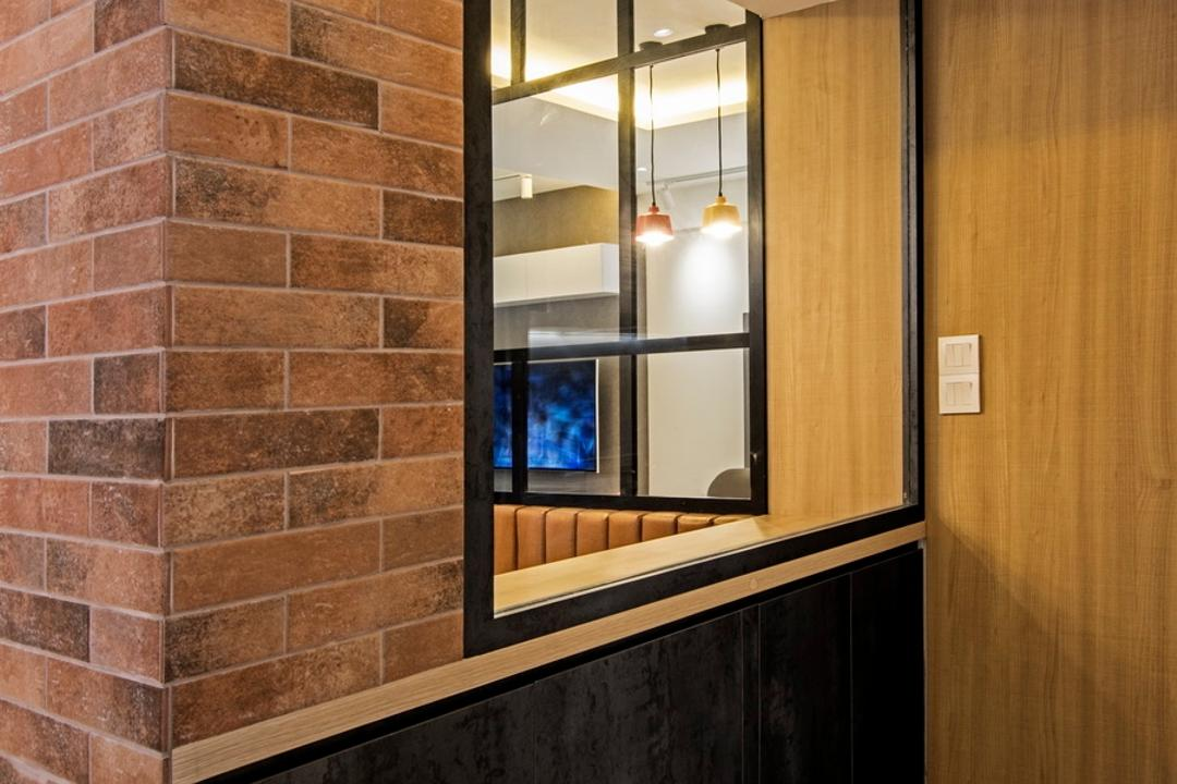 Punggol Drive (Block 679C), Fineline Design, Contemporary, HDB, Brown Brick Wall, Black Shoes Cabinets, Brick, Electronics, Entertainment Center, Home Theater