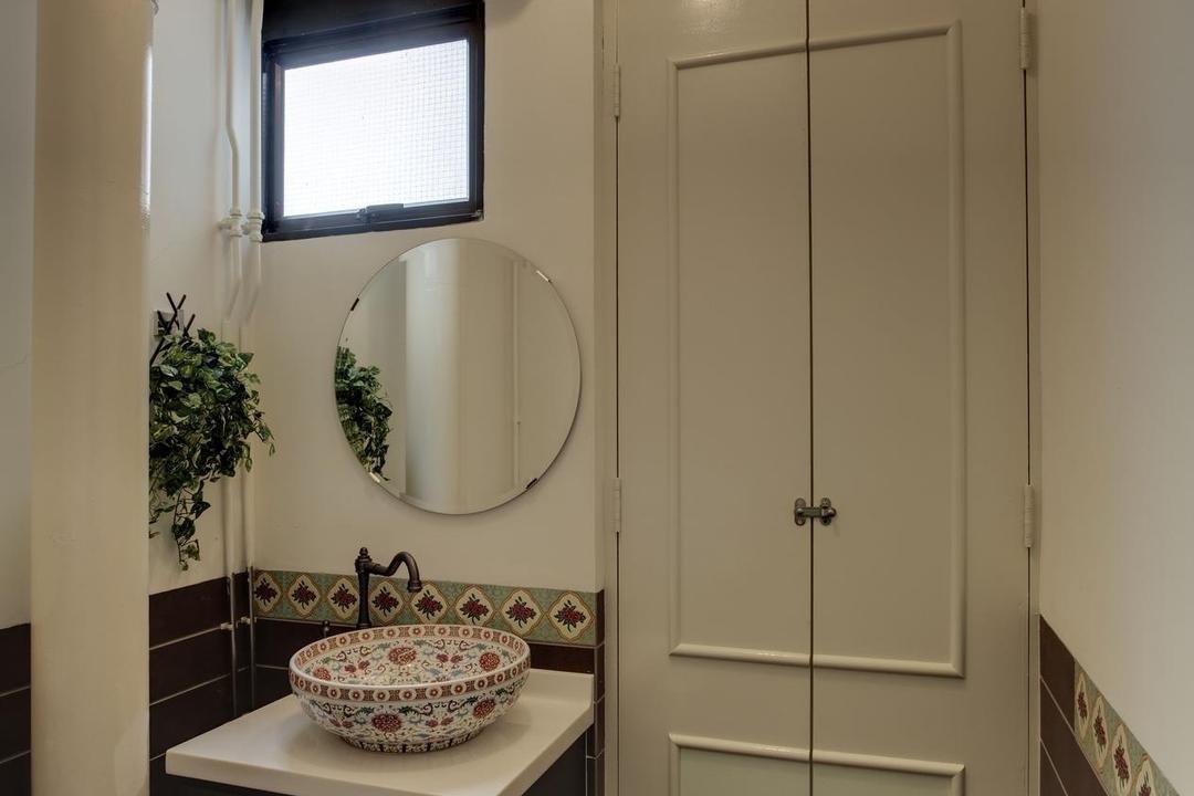 Sims Avenue, Liid Studio, Traditional, Bathroom, Commercial, Vessel Sink, Oriental, Mirror, Tile, Tiles, Doors, Floral, Plants, Flora, Jar, Plant, Potted Plant, Pottery, Vase, Art, Porcelain