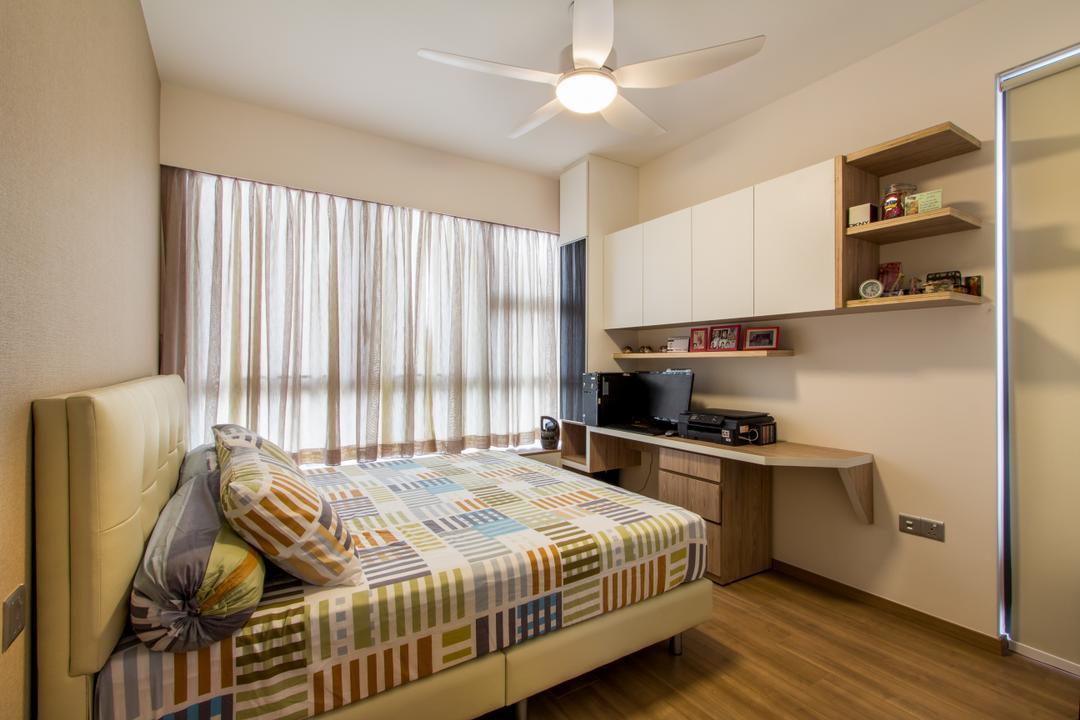 Segar Road, Fineline Design, Transitional, Bedroom, Condo, White Ceiling Fan, Desk, Bed Frame, Wood Floor, White Shelving, Shelf, Bed, Furniture, Indoors, Interior Design, Room