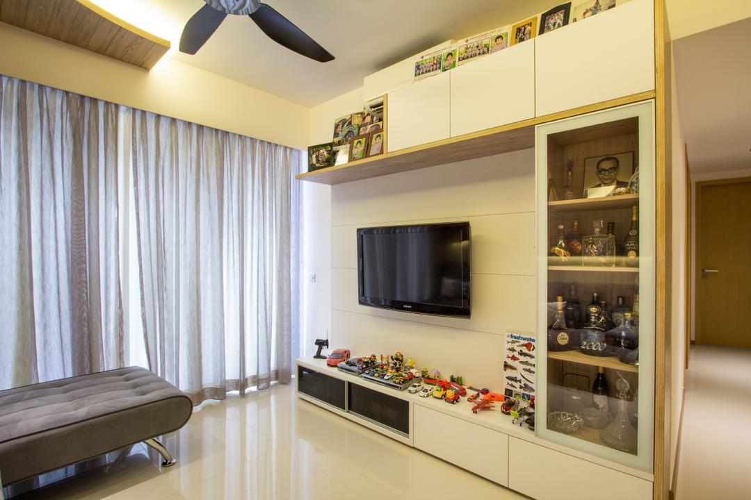 Segar Road, Fineline Design, Transitional, Living Room, Condo, Black Ceiling Fan, White Tv Console, White Shelving, Grey Curtains, Marble Flooring, Cove Lights, Appliance, Electrical Device, Microwave, Oven, Indoors, Interior Design, Chair, Furniture