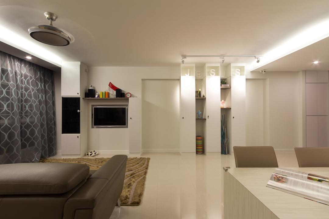 Sengkang East, Fineline Design, Traditional, Living Room, HDB, White, Clean, Cove Lights, Shleving, Floor Tiles, Ceiling Fan, Brown Sofa, Couch, Furniture, Indoors, Room