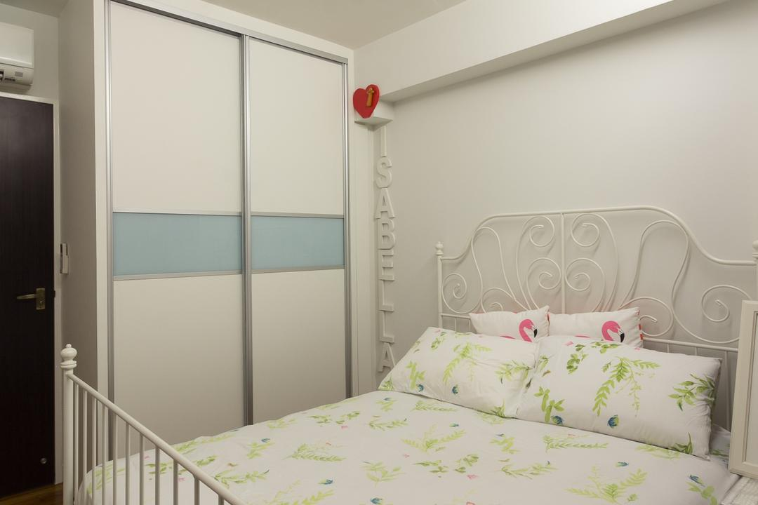 Sengkang East, Fineline Design, Traditional, Bedroom, HDB, Cpve Lights, White Bred Frame, White Wardrobe, Indoors, Interior Design, Room