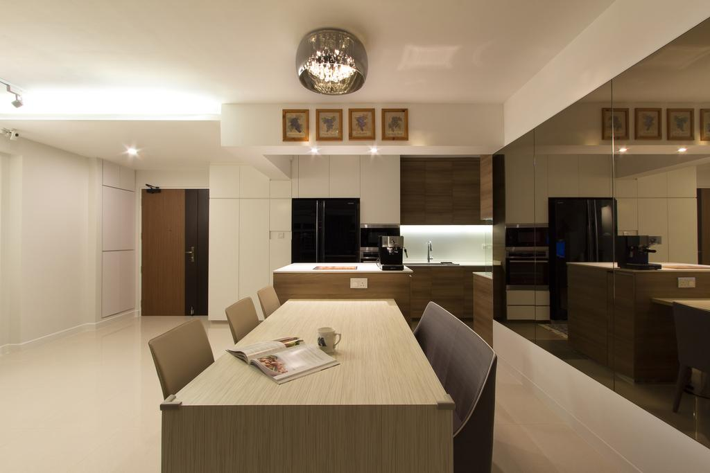 Traditional, HDB, Dining Room, Sengkang East, Interior Designer, Fineline Design, Tinted Mirror, Wood Dining Table, Dining Chairs, Dry Kitchen, Open Kitchen, Black 2 Door Fridge, Dining Table, Furniture, Table, Indoors, Interior Design, Sink
