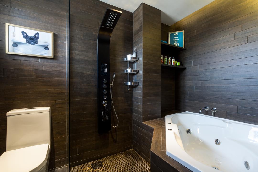 Serangoon, Fineline Design, Eclectic, Bathroom, HDB, Wall Tiles, Bath Tub, Floor Tiles, Shleving, Jacuzzi, Tub, Toilet