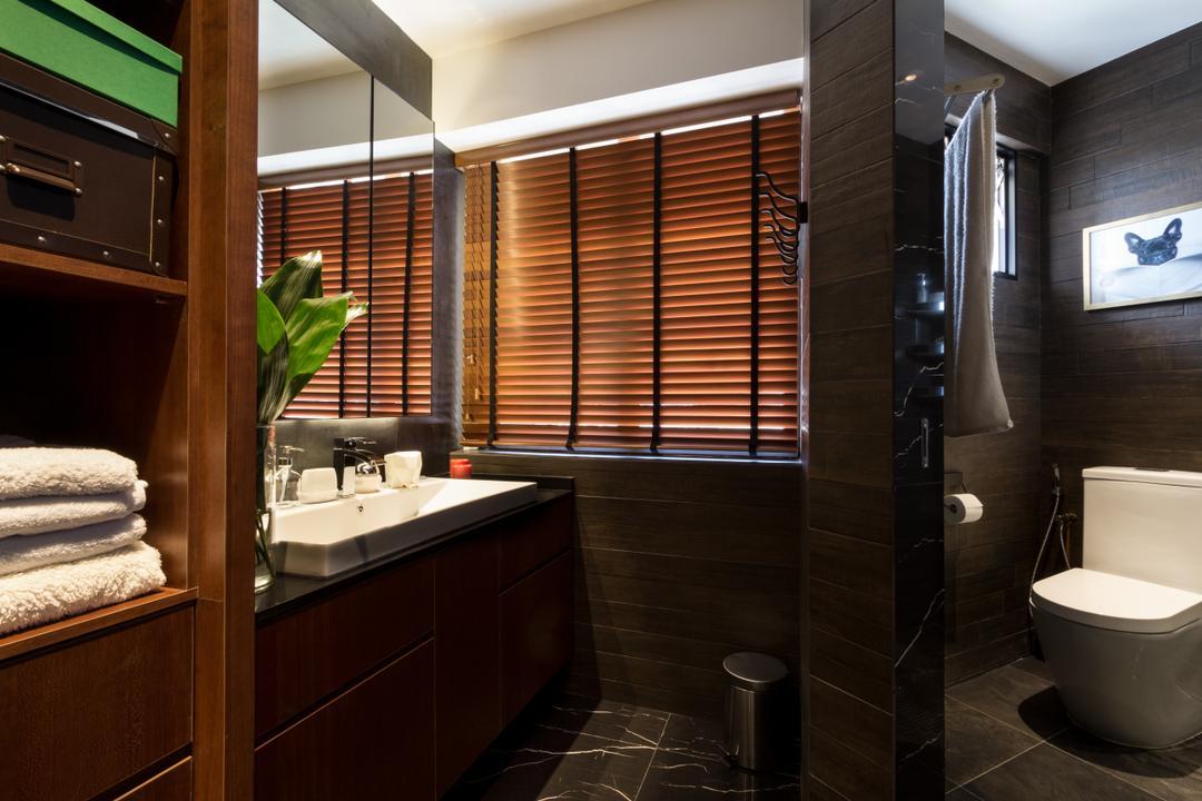 Serangoon, Fineline Design, Eclectic, Bathroom, HDB, Brown Blinds, Rectangular Sink, Shelving, Wall Tiles, Floor Tiles, Towel Rack, Toilet Bowl, Indoors, Interior Design, Room, Drawer, Furniture, Bathtub, Tub