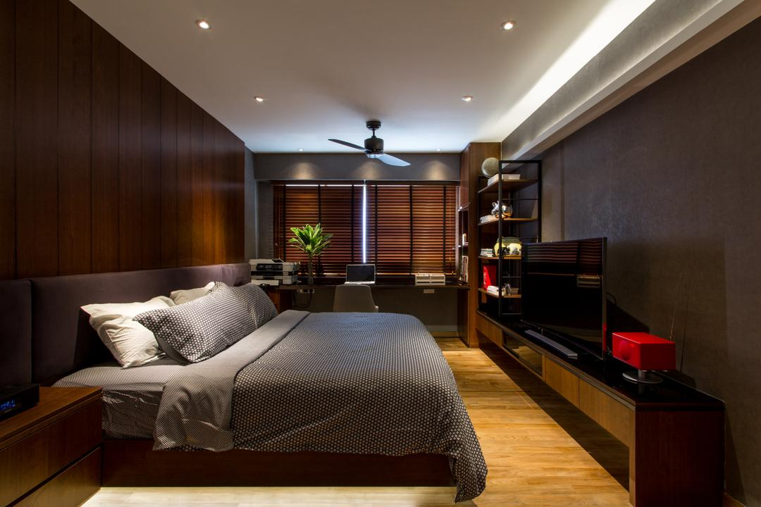 Serangoon, Fineline Design, Eclectic, Bedroom, HDB, Cov Elight, Down Light, Ceiling Fan, Bed, Wood Floor, Brown Blinds, Shelving, Tv Console, Indoors, Interior Design, Room