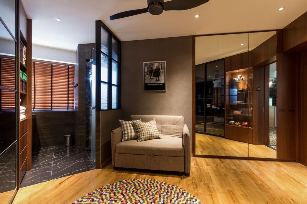 Eclectic, HDB, Bedroom, Serangoon, Interior Designer, Fineline Design, Black Ceiling Fan, Brown Blinds, Carpet, Grey Sofa, Mirror Wardrobe, Down Lights