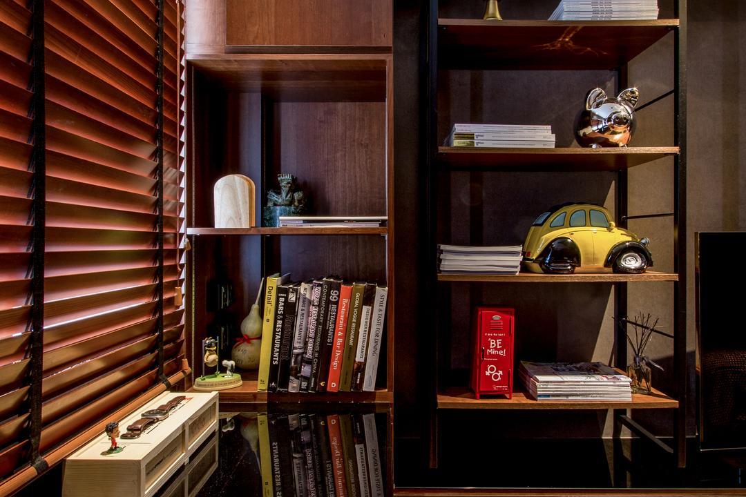 Serangoon, Fineline Design, Eclectic, Bedroom, HDB, Brown Blinds, Brown Shleving, Wood Floor, Bookcase, Furniture, Flora, Jar, Plant, Potted Plant, Pottery, Vase, Book