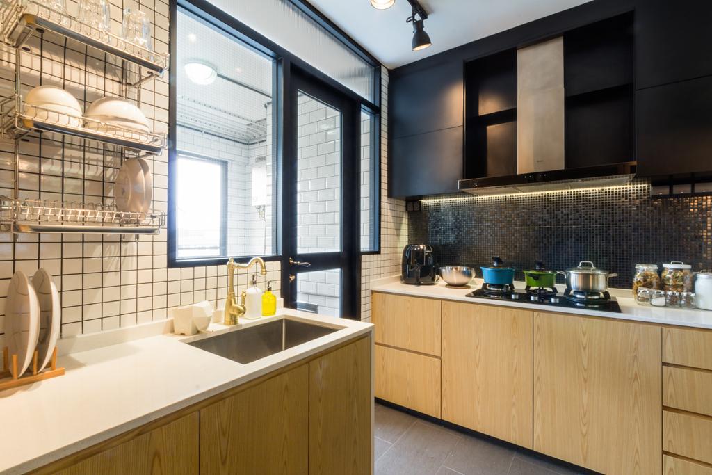 Eclectic, HDB, Kitchen, Serangoon, Interior Designer, Fineline Design, Cov Elights, Wood Cabinets, Wood Drawers, Laminate, Dish Rack, Sink, Indoors, Interior Design, Room