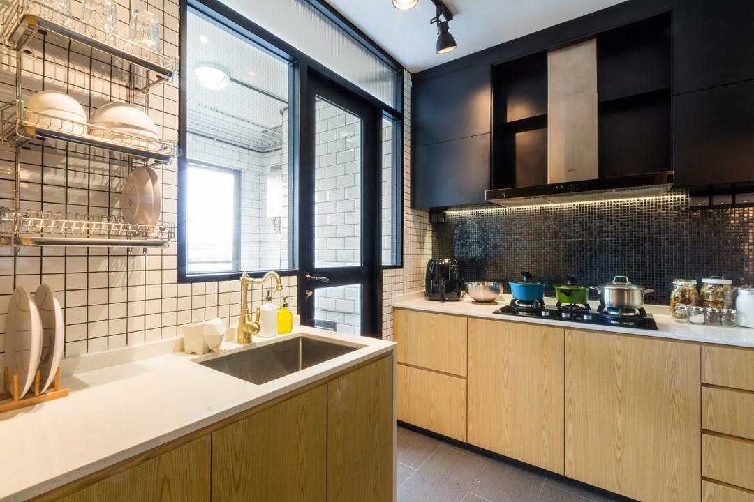 Serangoon, Fineline Design, Eclectic, Kitchen, HDB, Cov Elights, Wood Cabinets, Wood Drawers, Laminate, Dish Rack, Sink, Indoors, Interior Design, Room