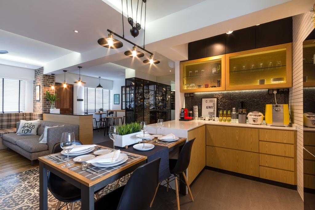 Eclectic, HDB, Kitchen, Serangoon, Interior Designer, Fineline Design, Dining Chairs, Dining Lights, Open Kitchen, Dry Kitchen, White Brick Wall, Wood Drawers, Pattern Floor, Grey Sofa, Couch, Furniture, Dining Table, Table, Building, Housing, Indoors, Interior Design