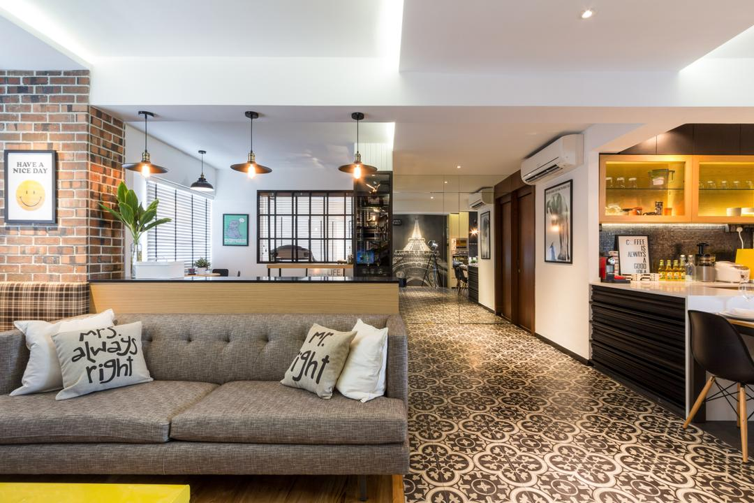 Serangoon, Fineline Design, Eclectic, Living Room, HDB, Cove Lights, Brown Brick Wall, Grey Sofa, Pattern Tiles, Down Lights, Dining Lights, Couch, Furniture, Flora, Jar, Plant, Potted Plant, Pottery, Vase