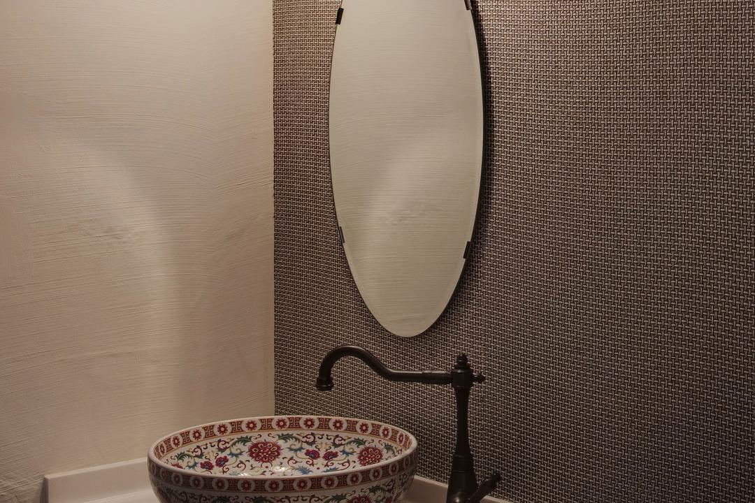 Sims Avenue, Liid Studio, Traditional, Bathroom, Commercial, Oriental, Vessel Sink, Mirror, Feature Wall, Woven, Wall Lamp, Bathroom Counter