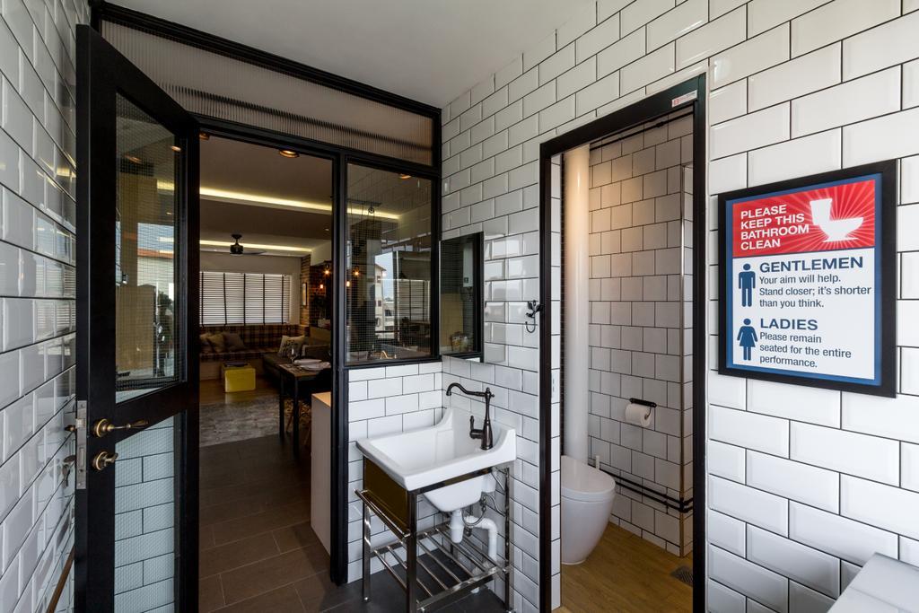 Eclectic, HDB, Bathroom, Serangoon, Interior Designer, Fineline Design, Wall Tiles, Square Sink, Sink