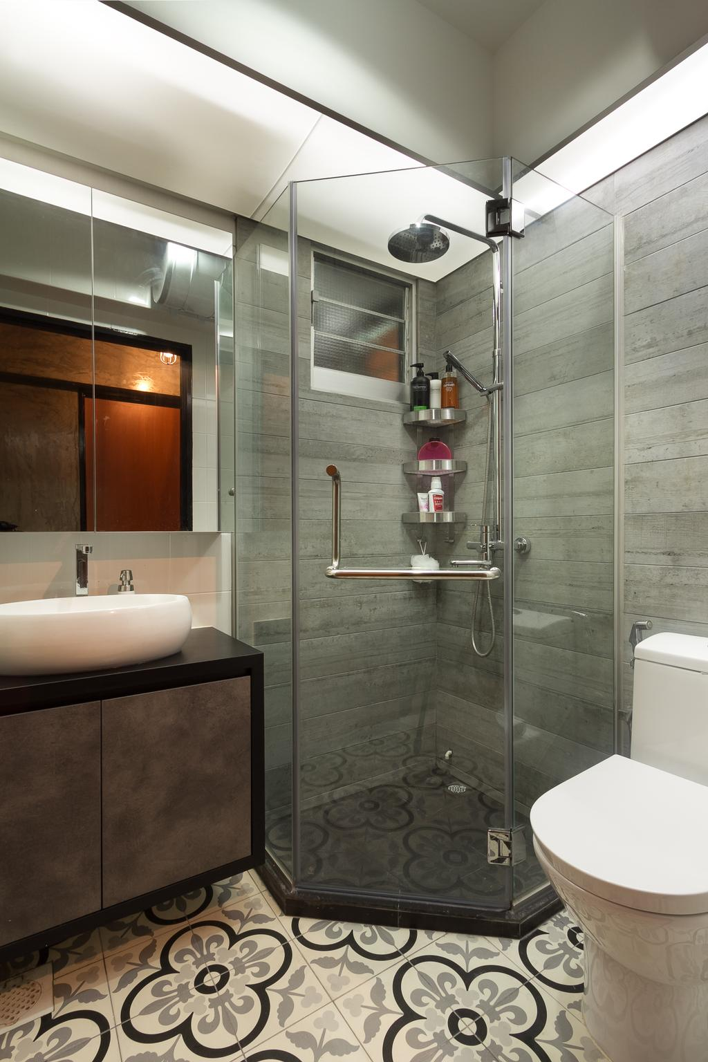Industrial, HDB, Bathroom, Serangoon Crescent, Interior Designer, Fineline Design, Floor Tiles, Wall Tiles, Shower Screen, Awkward Shape, Shower Kerb, Irregular Shower Kerb, Indoors, Interior Design, Room
