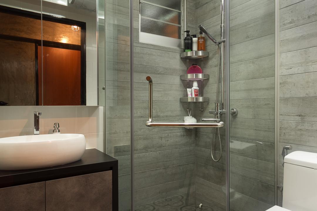 Serangoon Crescent, Fineline Design, Industrial, Bathroom, HDB, Floor Tiles, Wall Tiles, Shower Screen, Awkward Shape, Shower Kerb, Irregular Shower Kerb, Indoors, Interior Design, Room