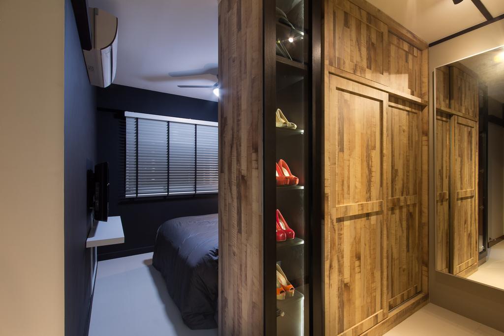 Industrial, HDB, Bedroom, Serangoon Crescent, Interior Designer, Fineline Design, Wood Wardrobe, Mirror, Partition, Walk In Wardrobe, Dresser, Cabinet, Wardrobe