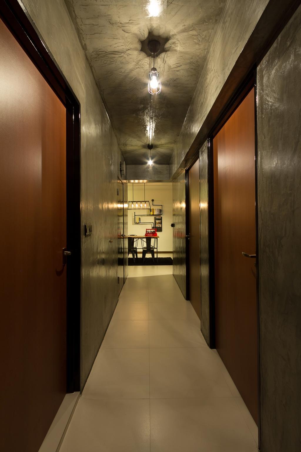 Industrial, HDB, Serangoon Crescent, Interior Designer, Fineline Design, Wood Door, Cement Screed Tiles, Hallway, Doorway, Corridor, Walkway, Dark, Grey Walls, Arch, Arched, Architecture, Building, Vault Ceiling