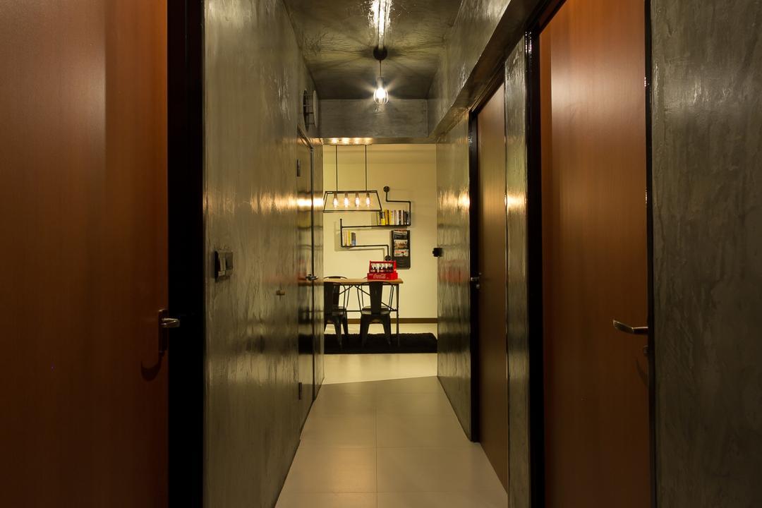 Serangoon Crescent, Fineline Design, Industrial, HDB, Wood Door, Cement Screed Tiles, Hallway, Doorway, Corridor, Walkway, Dark, Grey Walls, Arch, Arched, Architecture, Building, Vault Ceiling