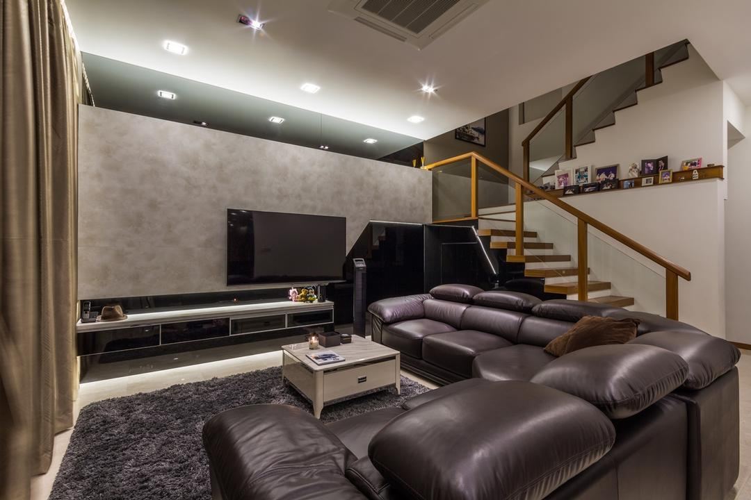 Siglap Road, Fineline Design, Modern, Living Room, Landed, Down Lights, Black Leather Sofa, Square Coffee Table, Grey Feature Wall, Tv Console, Electronics, Entertainment Center, Home Theater, Couch, Furniture, HDB, Building, Housing, Indoors, Loft