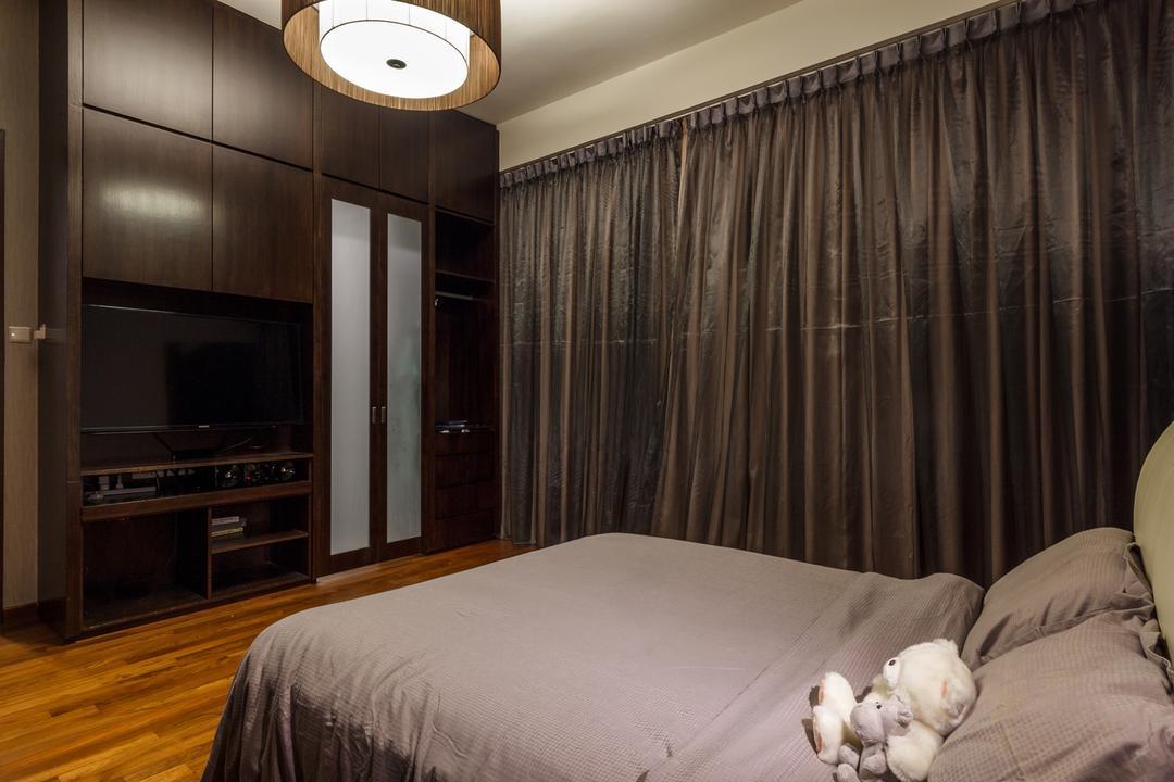Siglap Road, Fineline Design, Modern, Bedroom, Landed, Parquet, Dark Brown Wardrobe, Electronics, Entertainment Center, Asleep