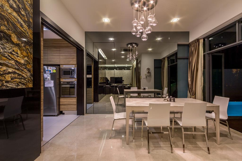 Modern, Landed, Dining Room, Siglap Road, Interior Designer, Fineline Design, White Dining Table, White Dining Chairs, Mirror Wall, Down Lights, Dining Lights, Tiles, Dining Table, Furniture, Table, Indoors, Interior Design, Room, Chair