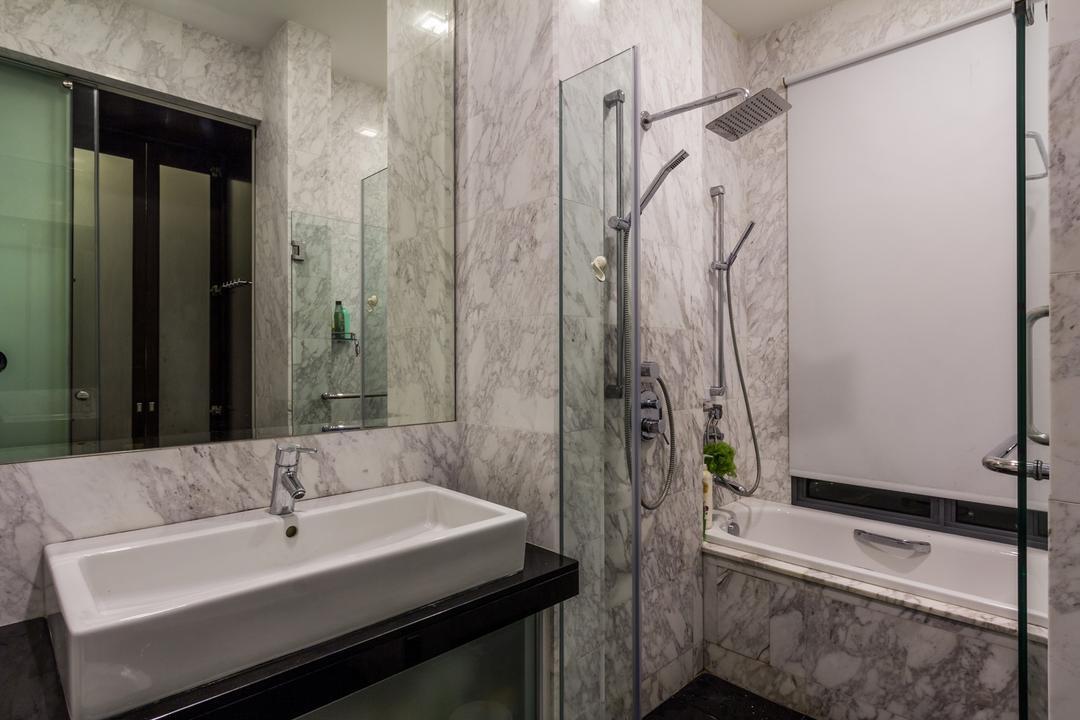 Siglap Road, Fineline Design, Modern, Bathroom, Landed, Wall Tiles, Bath Tub, Shower Screen, Rectangular Sink, Mirror, Indoors, Interior Design, Room