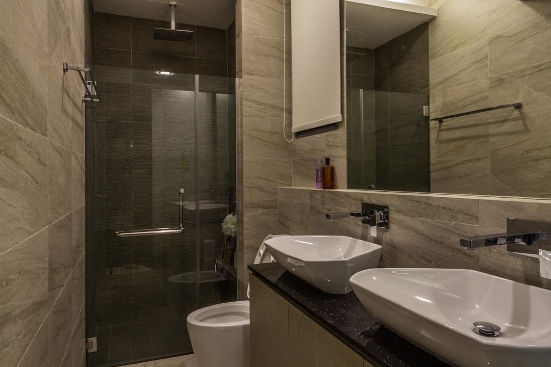 Siglap Road, Fineline Design, Modern, Bathroom, Landed, Twin Sink, Dual Sinks, Wall Tiles, Floor Tiles, Indoors, Interior Design, Room, Sink, Toilet