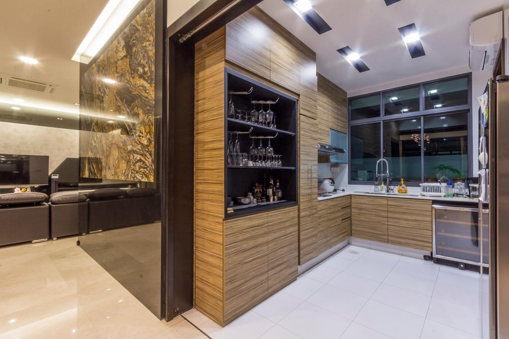 Modern, Landed, Kitchen, Siglap Road, Interior Designer, Fineline Design, Wood Cabinets, Marble Tiles, Floor Tiles, Bottle