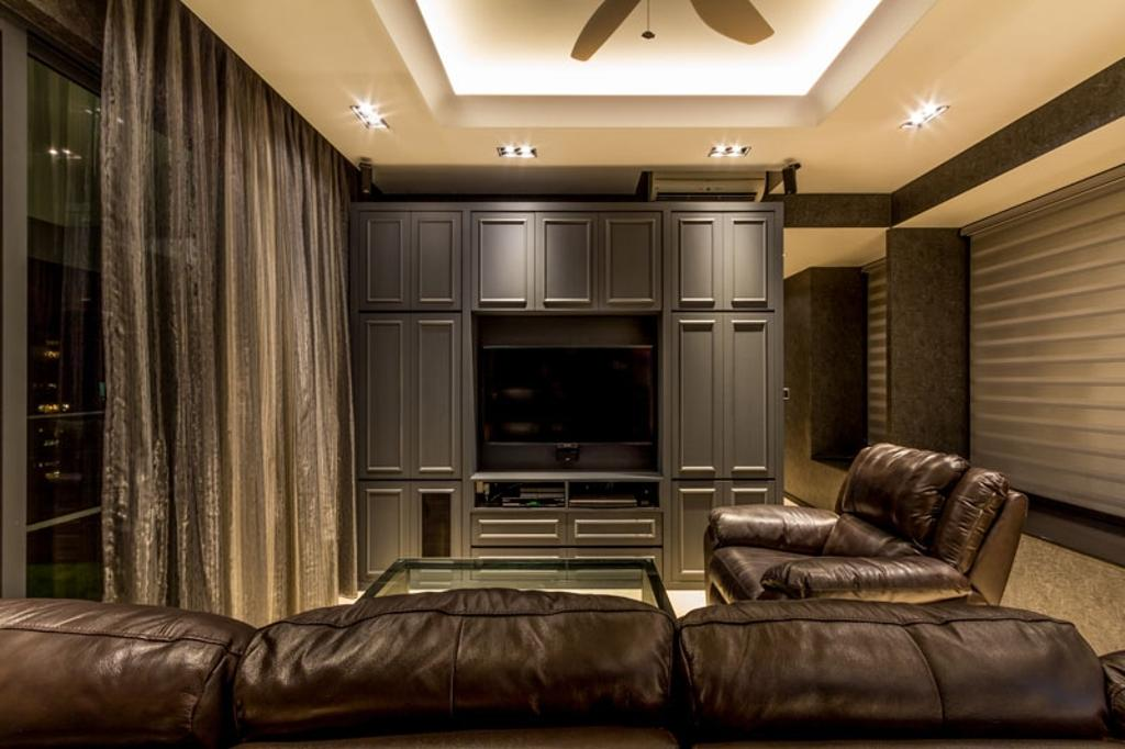 Contemporary, Condo, Living Room, The Trizon, Interior Designer, Fineline Design, Cove Light, Down Lights, Leather Sofa, Feature Wall, Tv Console, Wainscoting Panels, Electronics, Entertainment Center, Couch, Furniture, Home Theater, Corridor, Chair