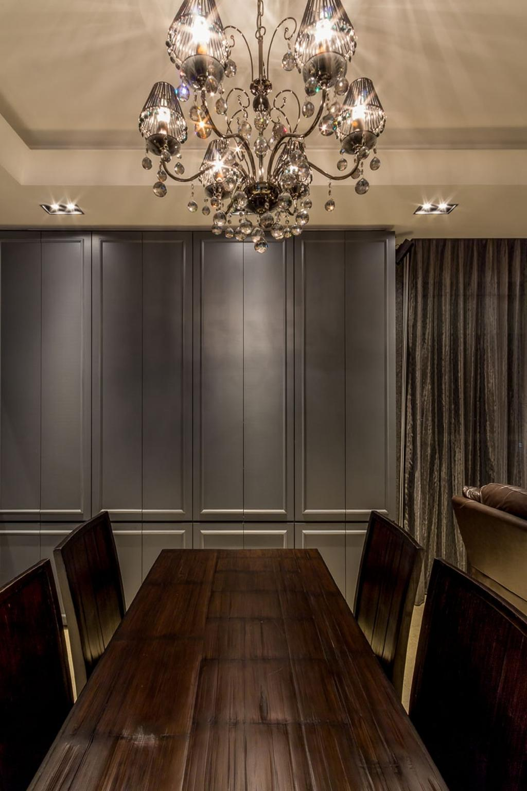 Contemporary, Condo, Dining Room, The Trizon, Interior Designer, Fineline Design, Chandelier, English, European, Down Lights, Dining Table, Dining Chairs, Couch, Furniture, Closet, Wardrobe