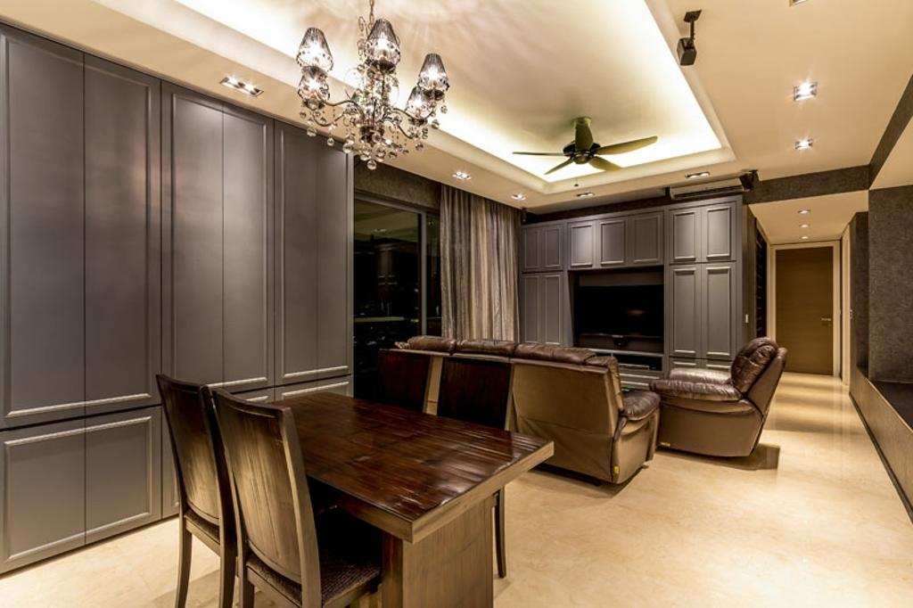 Contemporary, Condo, Living Room, The Trizon, Interior Designer, Fineline Design, Chandelier, Ceiling Fan, Down Lights, Cove Lights, European, English, Wainscoting Panels, Leather Sofa, Electronics, Entertainment Center, Chair, Furniture, Dining Room, Indoors, Interior Design, Room
