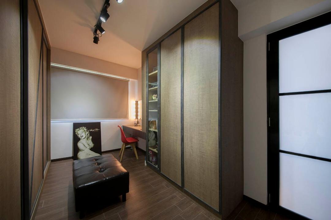 Segar Road, Aart Boxx Interior, Industrial, Bedroom, HDB, Projection Screen, Screen, Indoors, Interior Design, Room, White Board