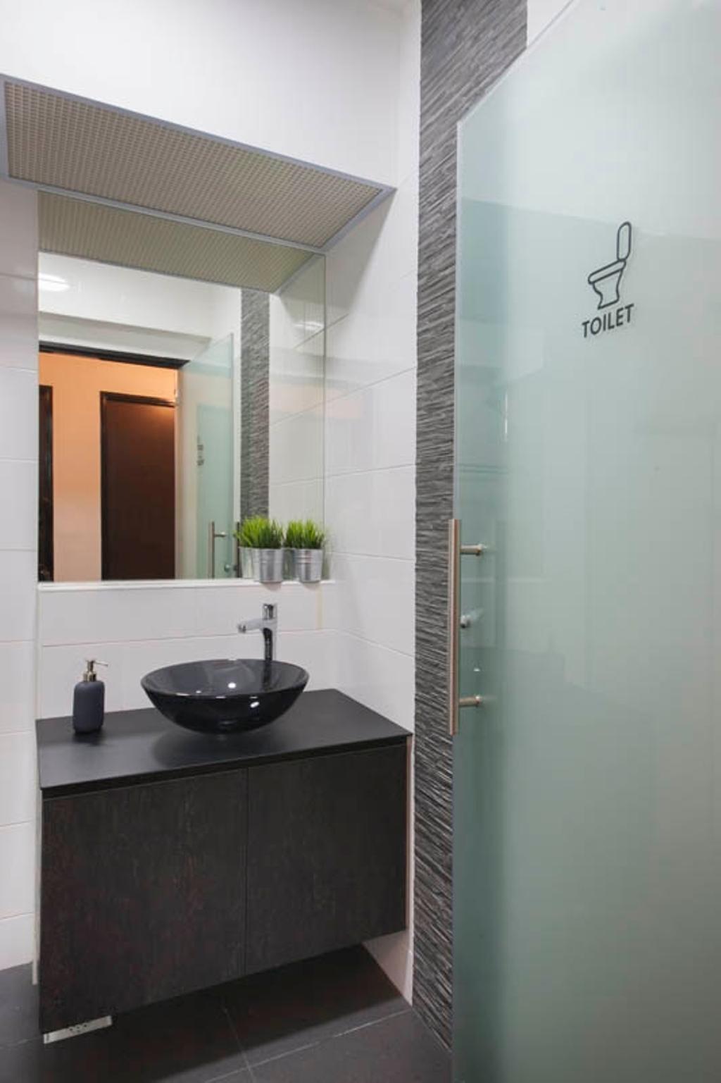 Industrial, HDB, Bathroom, Segar Road, Interior Designer, Aart Boxx Interior, Vanity Sink, Vanity Cabinet, Door Decal, Decal, Door Sticker, Frosted Door, Sink, Indoors, Interior Design, Room
