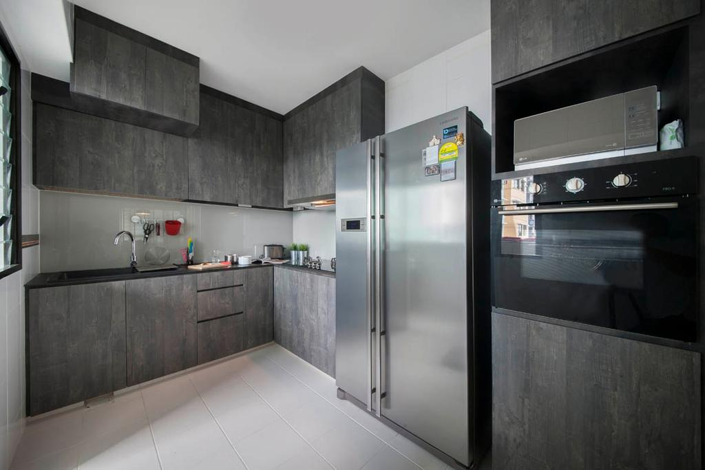Industrial, HDB, Kitchen, Segar Road, Interior Designer, Aart Boxx Interior, Laminates, Grey, Gray, 2 Door Refrigerator, Fridge, Oven, L Shaped Kitchen, Knobless, Countertop, Appliance, Electrical Device, Refrigerator, Furniture, Sideboard