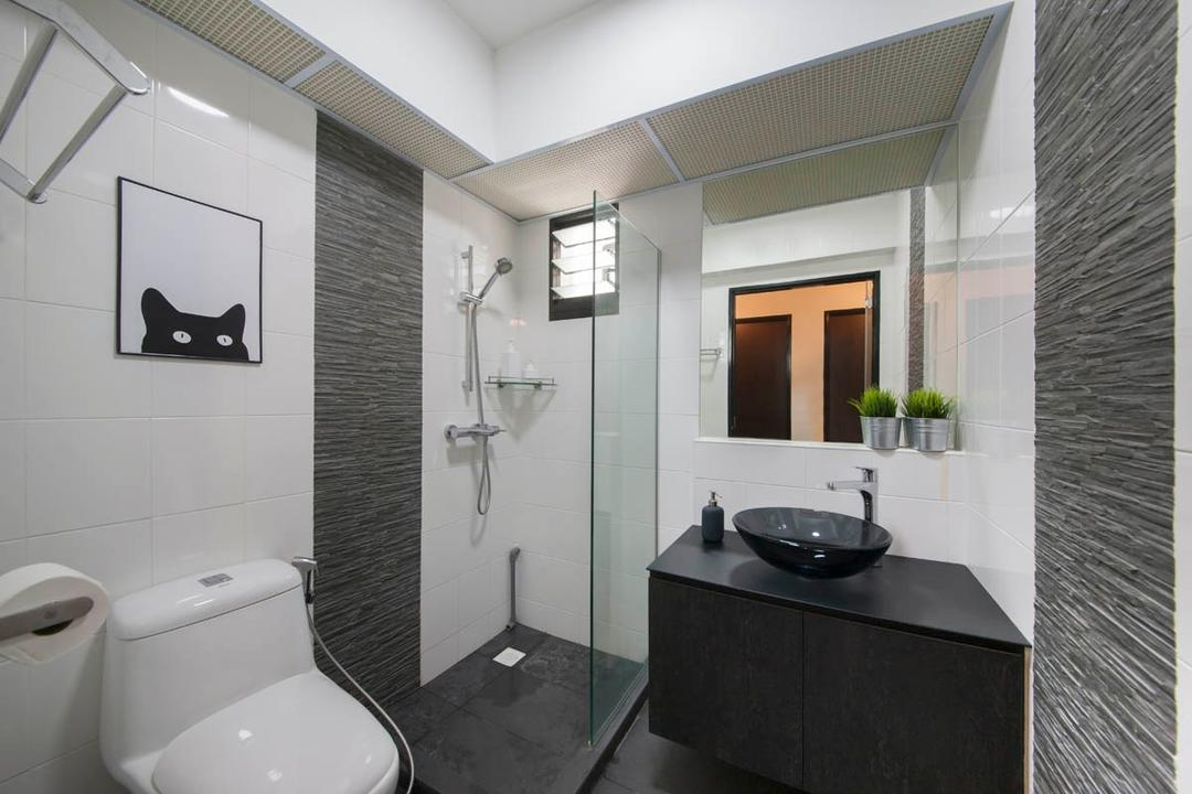Segar Road, Aart Boxx Interior, Industrial, Bathroom, HDB, White And Grey, White And Gray, Black Vanity Sink, Cabinet, Water Closet, Glass Door, Shower Screen, Shower, Toilet, Indoors, Interior Design, Room, Sink, Flora, Jar, Plant, Potted Plant, Pottery, Vase