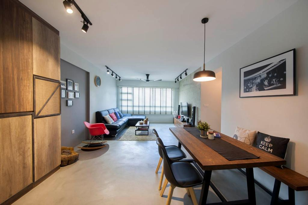 Industrial, HDB, Dining Room, Segar Road, Interior Designer, Aart Boxx Interior, Entrance, Spacious, Open Concept, Open Layout, Airy, Black Lights, Couch, Furniture, Dining Table, Table, Indoors, Interior Design, Room, Chair, Building, Housing