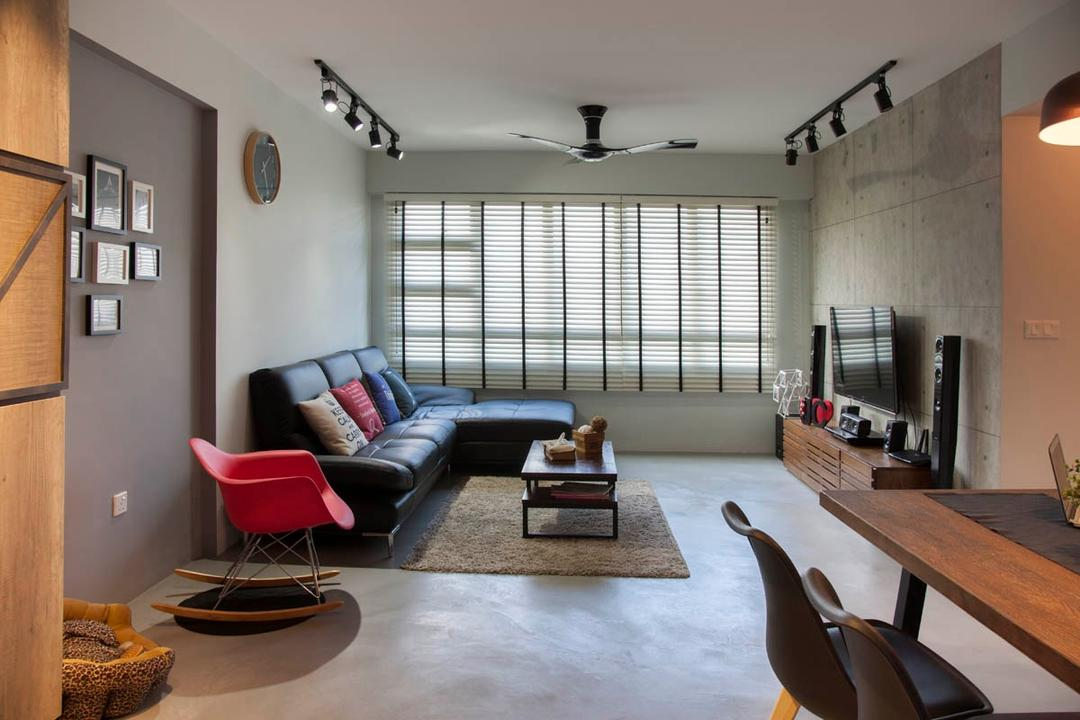 Segar Road, Aart Boxx Interior, Industrial, Living Room, HDB, Venetian Blinds, Raw, Rug, Cement Screed, L Shaped Sofa, Leather Sofa, Speakers, Wooden Tv Console, Rocking Chair, Grey And Brown, Gray And Brown, Couch, Furniture