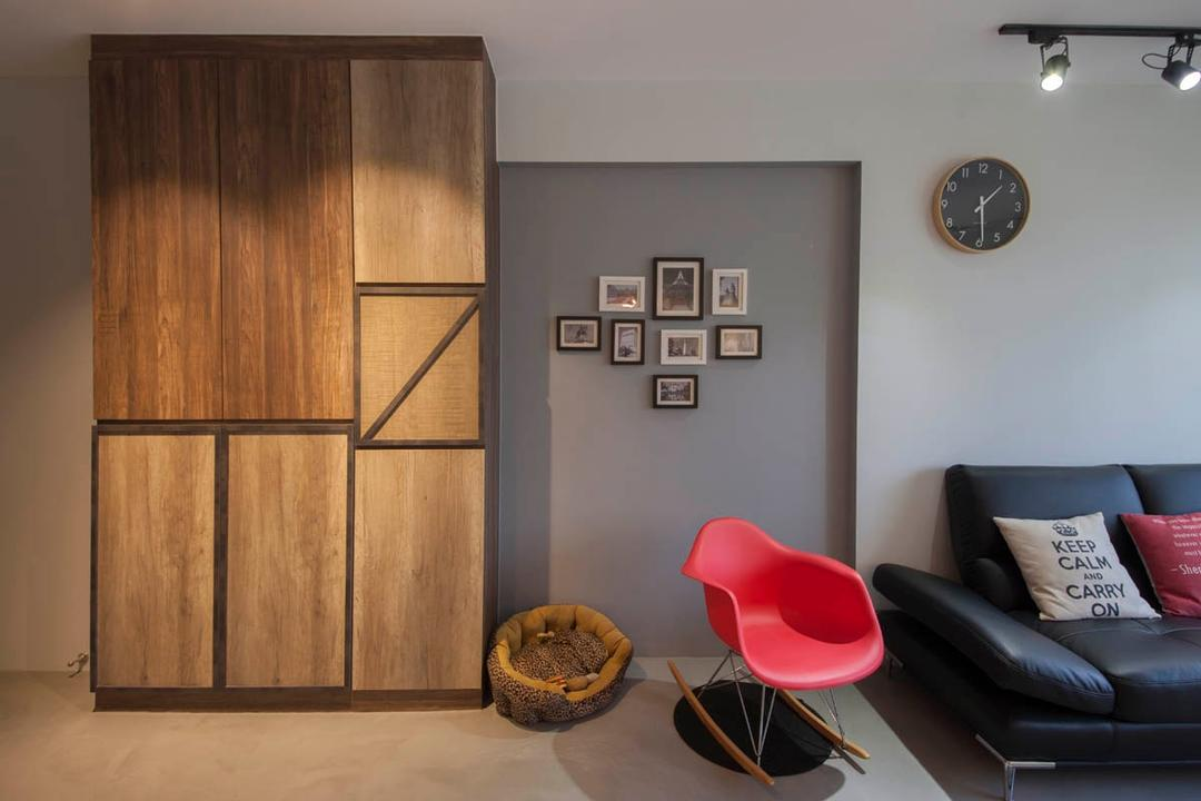 Segar Road, Aart Boxx Interior, Industrial, Living Room, HDB, Shoe Cabinet, Laminate, Rocking Chair, Dog Bed, Couch, Furniture, Chair, Indoors, Interior Design