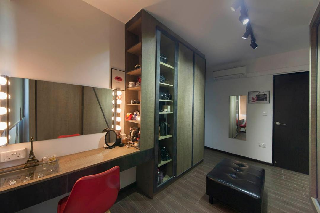 Segar Road, Aart Boxx Interior, Industrial, Bedroom, HDB, Bulbs On Mirror, Hollywood Mirror, Bulbs, Bench, Wall Mirror, Dresser, Accessory Storage, Jewellery Storage, Vanity Cabinet, Vanity Drawer, Cosmetic, Bag Storage, Display, Bathroom, Indoors, Interior Design, Room