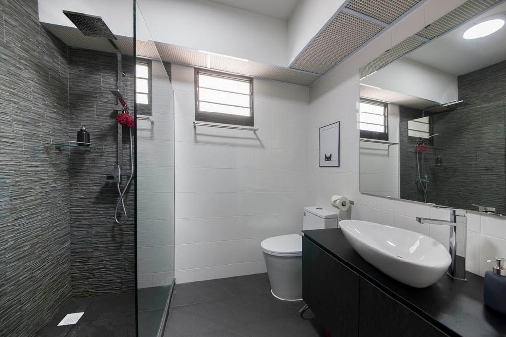 Industrial, HDB, Bathroom, Segar Road, Interior Designer, Aart Boxx Interior, Black Tiles, White, Black And White, Monochrome, Towel Rack, Indoors, Interior Design, Room
